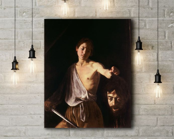 Caravaggio: David with the head of Goliath. Fine Art Canvas.
